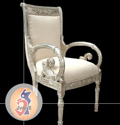We are presenting wide collection of handcrafted Chairs in various features and designs like emboss design, polished, bone inlay, MOP(mother of pearls), silver room chairs, with animal figure, with floral design, ram head, arm chair, meenak - by Jai Shri Marble Arts, Udaipur