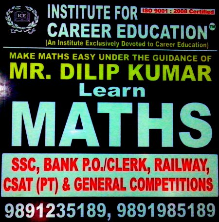 Best Maths classes for oneday general competitive exams in mukherjee nagar  - by Institute for career education, North West Delhi