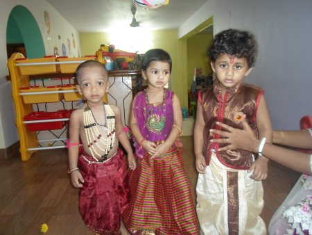 we were celebrating janmashtami at our school with kids - by First step preschool & day care,