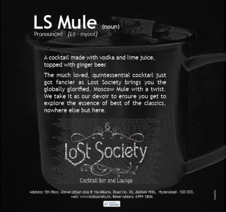 Enjoy the 'not so cold' weather today at LOST SOCIETY(Jubilee Hills, Hyderabad) with a glass of our signature and most favorite cocktails. - by Lost Society, Hyderabad