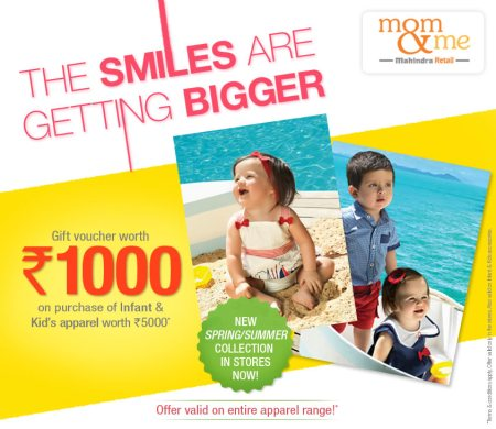Walk in to nearest Mom & Me stores and avail exciting offer on entire kid's apparel range!  Mom & Me is destination store for all infant and kids clothing needs.  Rush now to Mom & Me stores - by Mom & Me - Indiranagar, Bangalore