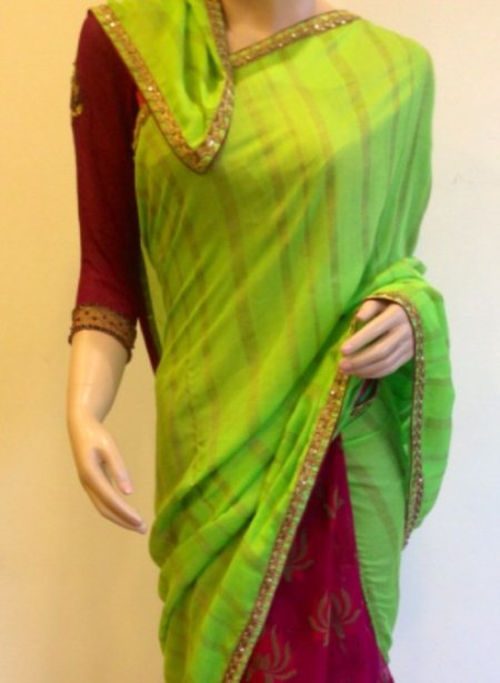 Half and half saree in super net and embellished silk.  - by Jaheena, Bangalore