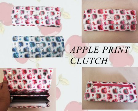 APPLE PRINT CLUTCH IN TWO TRENDY COLOURS >>>>>>BLUE  & PINK - by ALPINE - The Fashion & Art Store, Hyderabad