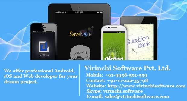 Virinchi Software helps you have a dedicated android developers who can convert your dream app into reality. Virinchi Software is one of the reliable Android app development company in Delhi, India. Virinchi Software offers Android apps dev - by Virinchi Software Pvt. Ltd.,