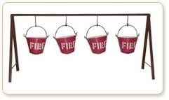 A fire bucket is a bucket filled with water or sand which is used to prevent or extinguish fires. Oil fires are resistant to water, but small fires can be effectively extinguished when the sand in the bucket is dumped on the fire to starve  - by Sree Rama Fire Protection Systems, Hyderabad
