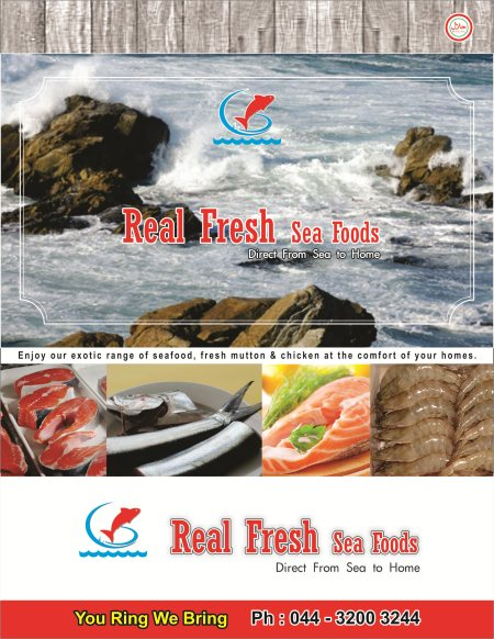 Enjoy our exotic range of Fresh Seafood, Fresh Halal mutton and chicken at the comfort of your homes . Call us on 044 3200 3244  to place your order and get it home delivered . - by Real Fresh Sea Foods, Chennai