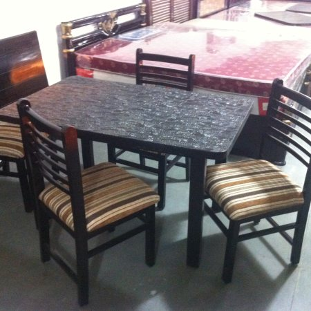 New arrival of  set of 4 teakwood chairs and teakwood base and new  wood top at Rs 14000/-
