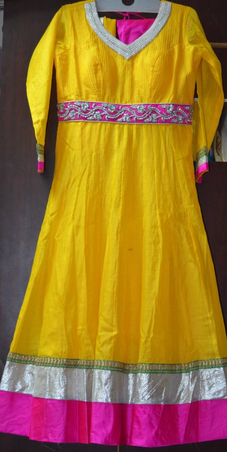 Anarkali dress with stone work and  pink bottom and double shaded chunni..  Size : Large - by SUBHAS BOTIQUE (Madhura Nagar), Hyderabad