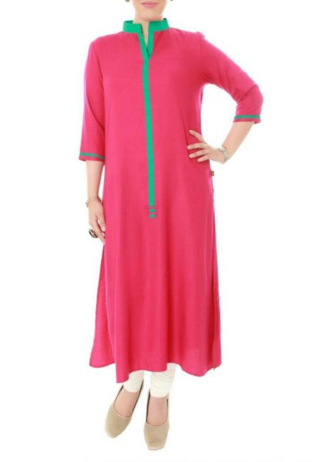 Summer offical wear kurti in pink and green combination and white paijama.  Available at our store