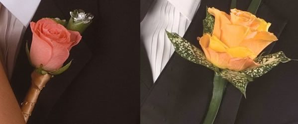 The Groom's Boutonniere  It is a floral decoration pinned to the left lapel on a jacket often worn by the groom.  The boutonniere comes in different sizes, style, colours and shapes. They are usually small, simple and serve as an accent - by Funmi And Flowers Events, Lagos