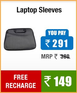 Buy LAPTOP SLEEVES at discounted price and also get a free recharge of Rs 149.00 LAPTOP SLEEVES  MRP 380.00 Discounted price is Rs 291.00 and get Rs 149.00 free recharge  - by KGN NETZONE, HYDERABAD