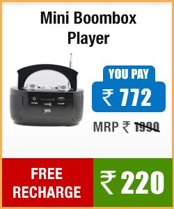 Buy MINI BOOMBOX PLAYER at discounted price and also get a free recharge of Rs 220.00 MINI BOOMBOX PLAYER MRP 1990.00 Discounted price is Rs 772.00 and get Rs 220.00 free recharge - by KGN NETZONE, HYDERABAD