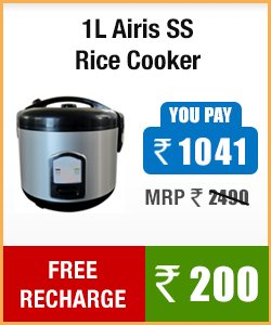 Buy 1L AIRIS SS RICE COOKER at discounted price and also get a free recharge of Rs 200.00 1L AIRIS SS RICE COOKER MRP 2490.00 Discounted price is Rs 1041.00 and get Rs 200.00 free recharge - by KGN NETZONE, HYDERABAD