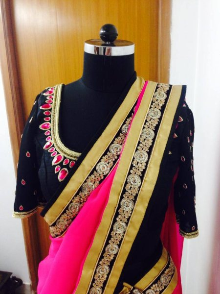 Hot pink , black and gold is always stunning. It is festive and apt for any celebration. Designed a Lehenga for a very pretty and young NRI client recently. - by Studio Rama, Hyderabad
