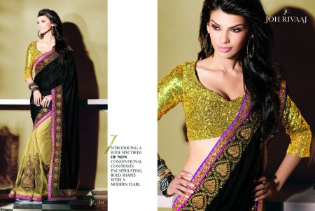 Contemporary Sarees with Customised Blouse Patterns. - by S.V. Silks, Hyderabad