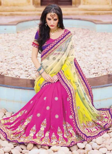 Heavy Pearl embedded Party wear Saree with pure georgette base and silk blouse . - by Karachi House, Hyderabad
