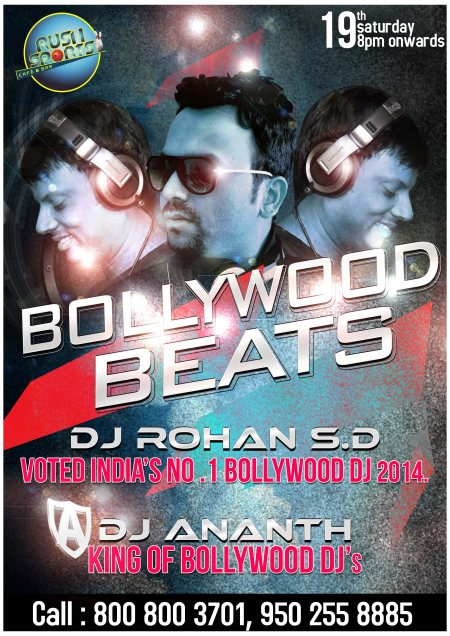 BOLLYWOOD BEATS  DJ Rohan and DJ Anant Vastrala play all u r favorite bollywood music all night from 8:00 pm on wards. for ladies free vodka shots from 8 pm to 10 pm....  19th saturday 2014.  - by Rush Sports Cafe & Bar, Hyderabad