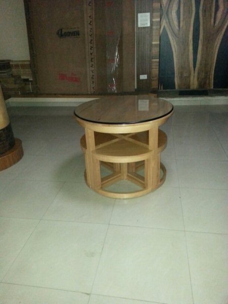 Round space saver with tools made of European steam beech wood.