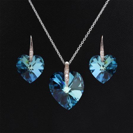 Sparkling Blue crystal heart shape silver pendant set.A richly feminine pendant and earrings for all your spring-time picnics & outdoor parties at the club! - by Aashirwad Jewellers, Gurgaon