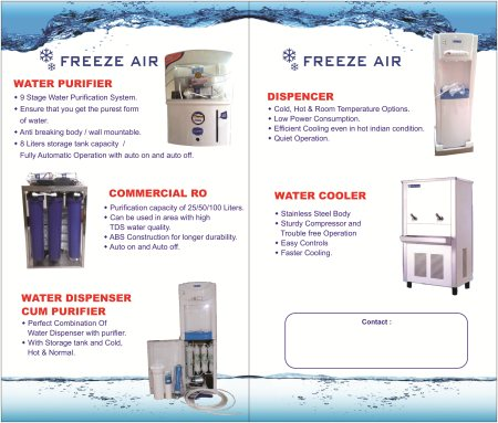 Freeze Air Marketing deal with Water purifiers starting from domestic purifiers and commercial purifiers, water dispenser cum purifier, water dispenser and water coolers of Freeze Air Marketing and Blue Star.