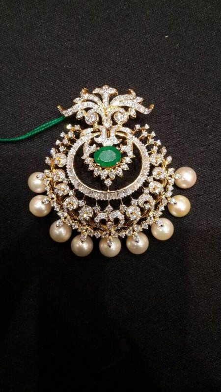Varalaxmi Vratham Special Designer Diamond Pendent With South Sea Pearl With Changable Colour Stones.