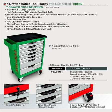 7-Drawer Mobile Tool Trolley - PRO-LINE SERIES - GREEN  7-Drawer Mobile Tool Trolley - PRO-LINE SERIES - GREEN  TCAC0701 - by INTERNATIONAL TOOLS SUPPLY CO, Perambalur