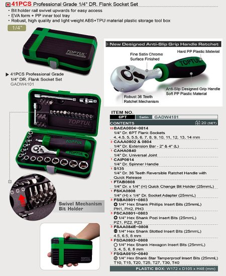 "New Launch:- 41PCS Professional Grade 1/4"" DR. Flank Socket Set,  Perfect Kit for Enthusiast in Auto-Mecahnics. Check our TOPTUL  Model GADW4101. - by INTERNATIONAL TOOLS SUPPLY CO, Perambalur"