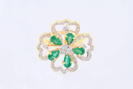 """14k Designer Flower Round Natural Diamond Women Ring/ Option: Emerald Green and Ruby Red Exchangable Flower Leaf""   - by Aashirwad Jewellers, Gurgaon"