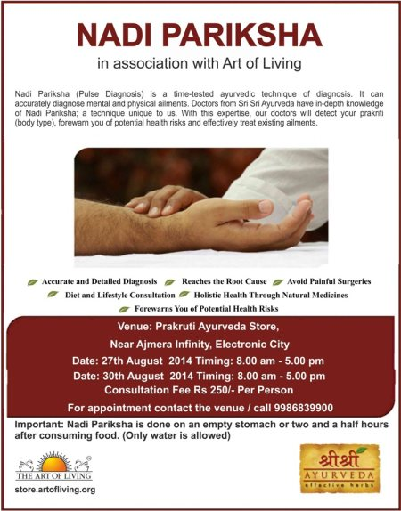14th Nadi Parikshan Camp by Art of Living Doctors at our Electronic City Store, for appointments call +919986839900 - by Prakruti - The Ayurveda Store, Bangalore