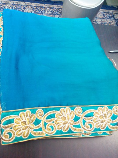 Chiffon #Sarees with latest Cutwork Border. Can be Draped for #Partywear. We Specialised in Customised Designing and Tailoring. - by Vahrrudhine Designer Studio, Hyderabad