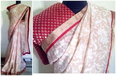 Matka Silk Sarees are always Friendly to enhance your Fashion Aura. Beige Formulated Fabric in Rich Polki Banaras Blouse. - by Vahrrudhine Designer Studio, Hyderabad