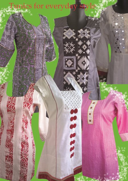 Tune into Tunics.Beautiful  #Tunics for women. Wear one of these tunics  with  jeans or trousers and look styled & comfortable . Pretty prints and solid colours are  accented with delicate shimmer that enhances any outfit. #Customized  #De - by Deeba Textile Crafts, Hyderabad