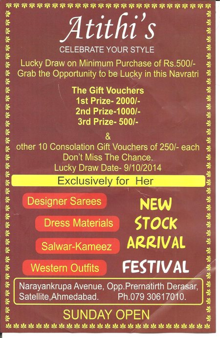 NEW STOCK ARRIVAL ON FESTIVAL... - by ATITHI'S, Ahmedabad