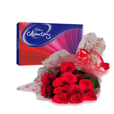 ROSES& CELEBRATION  Celebrate your moment with a Celebrations pack from Cadbury. Order this roses and celebrations combo from Flowers2u online now. This combo has a box of Cadbury Celebrations chocolates of 126gm and a bunch of 12 red ros - by Flowers2u, Bangalore