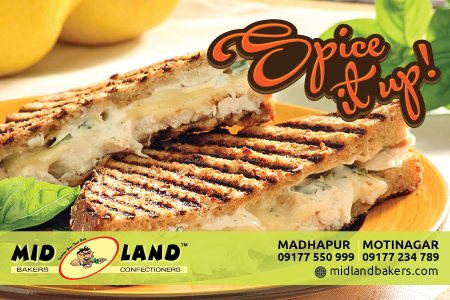 Veg/ Chicken Grilled Sandwich is one thing you cannot miss @ Midland Bakers. Come try one now !!!! - by Mid Land Bakers & Confectioners, Hyderabad