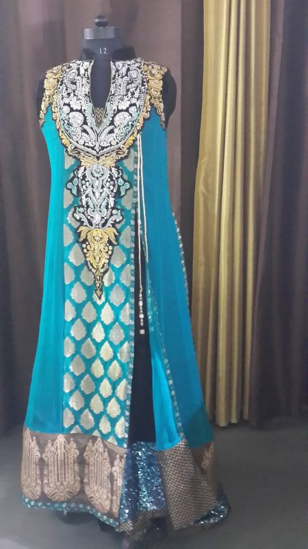 A unique creation by Waseem Noor from Karachi. It is in pure silk, brocade and zardosi and stone work. 4 pieces (shirt, jacket, pants and dupatta) - by INDUS - Fashion, Accessories, Home, Gurgaon