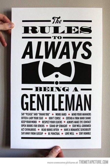 THE RULES TO ALWAYS BEING A GENTLEMAN - by Joe's Barbershop, Depok 2 Tengah