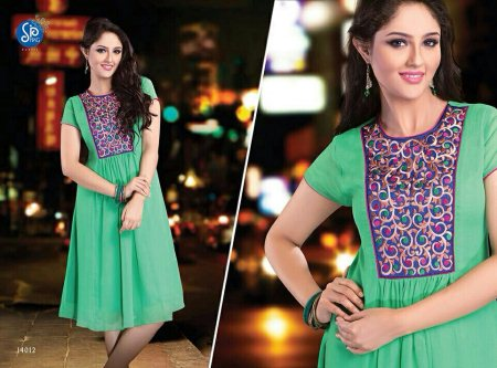green color designer kurty with embroidery - by Sri Narsingh Cloth Emporium Pvt Ltd, Hyderabad
