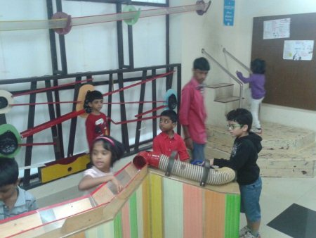 kids of sri chaitanya techno school  domalguda have fun with ball a coaster. - by KiDiHou Children's Museum, Hyderabad