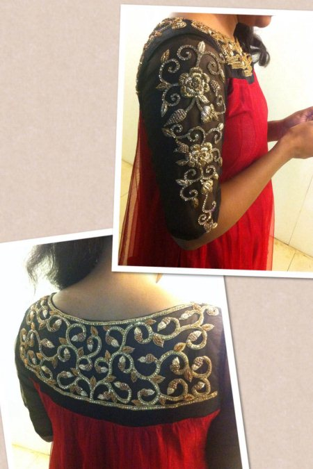 Anarkali top with heavy zardosi work at the neck n sleeves - by Aakarshana, Hyderabad