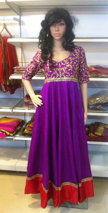 Rawsilk anarkali with zardosi work at the yolk part n sleeves - by Aakarshana, Hyderabad