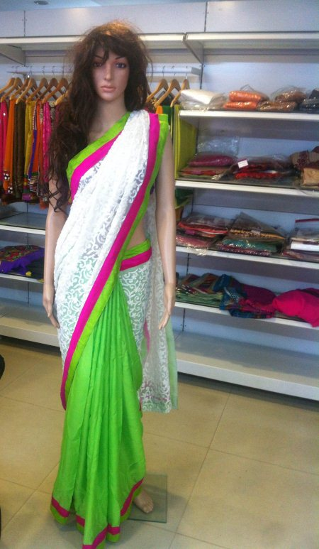 Green georget n white combi saree  - by Aakarshana, Hyderabad