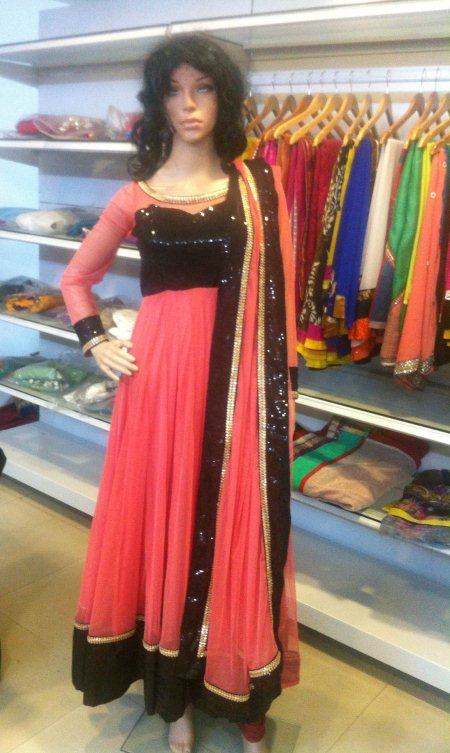 Peach anarkali with sequence yolk  - by Aakarshana, Hyderabad