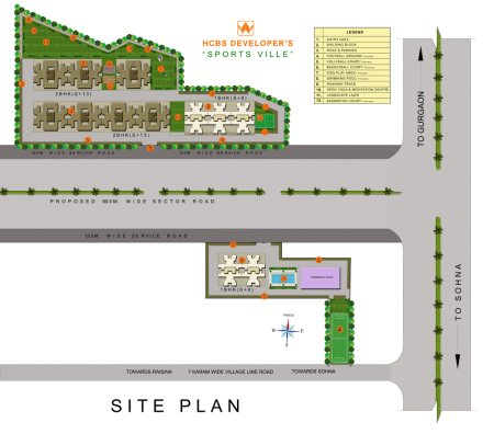 Site Plan   - by HCBS SPORTS VILLE, Delhi