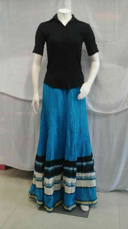 Cotton fancy skirt, colors available, blue, pink, half white, black,      MRP, 1110. - by Kaira, Hyderabad
