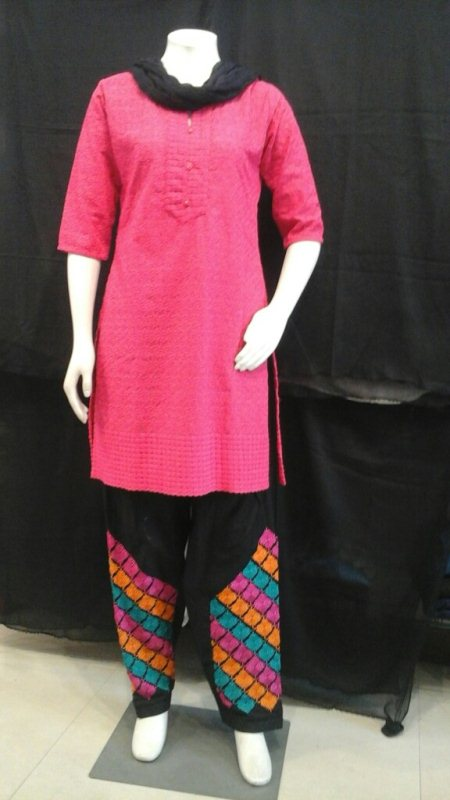 Cotton embroidery patiyala , colors available white black. MRP, 810           and with chicken Kurti,  colors available pink, red, blue, yellow, and more, MRP, 840 to 860.