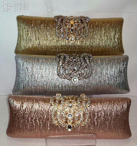 Beautiful Clutches in 3 colours  - by TKD JEWELLERS, Hyderabad