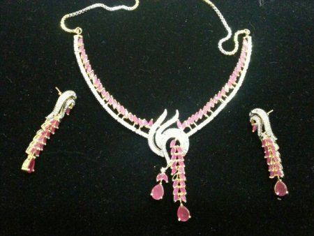 Ruby and Cz necklace set  - by TKD JEWELLERS, Hyderabad
