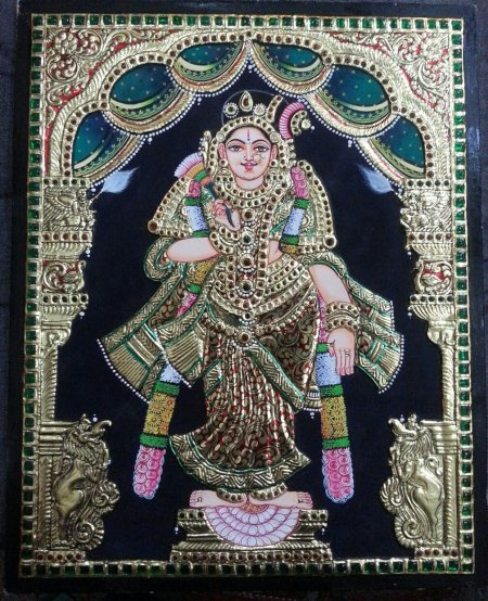 Aandaal Tanjore Painting is very important for vaishnavites during the last month of the year and marghazhi month of Tamil Calendar.Goddess Andaal Tanjore Painting has been created with divinity. - by Kum Kum Gallery, Bangalore