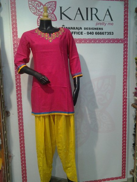 Kurti reyon contrast  emb work  Patiyala self emb work - by MAHARAJA DESIGNERS, BADI CHOWDI, Hyderabad